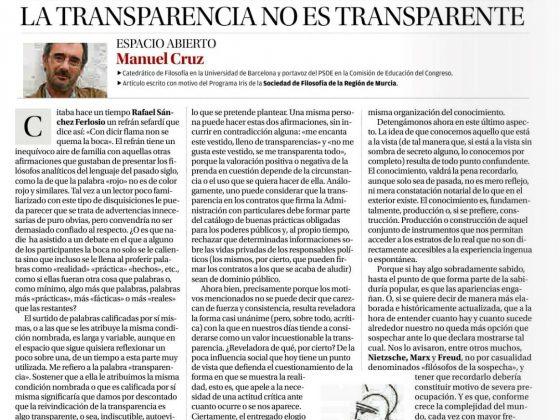 Manuel Cruz: «La transparencia no es transparente»
