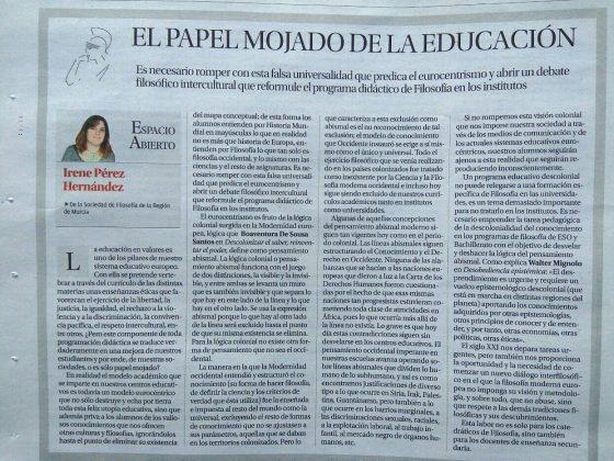 Irene Pérez Hernández: «El papel mojado de la educación»