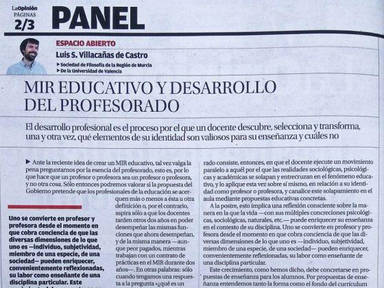 Luis S. Villacañas: «MIR educativo y desarrollo del profesorado»