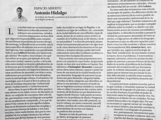 Antonio Hidalgo: «Filosofía, diseño y ciudad»