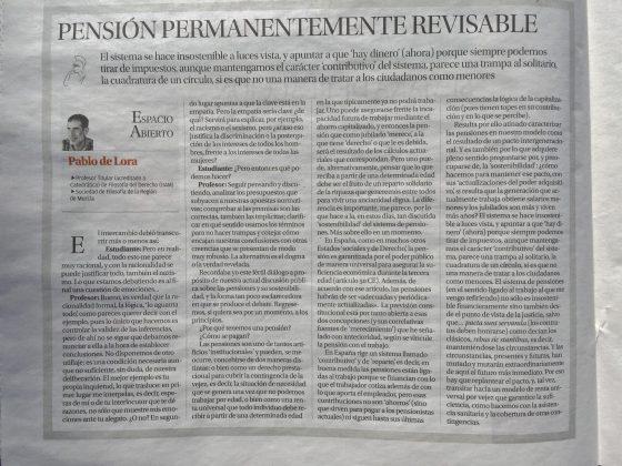 Pablo de Lora: «Pensión permanentemente revisable»