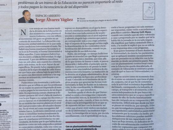 Jorge Álvarez Yágüez: «División en Educación»