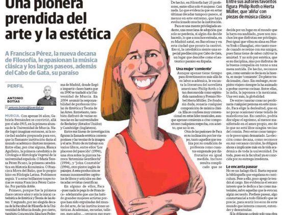 Entrevista a Francisca Pérez Carreño, nueva decana de la Facultad de Filosofía