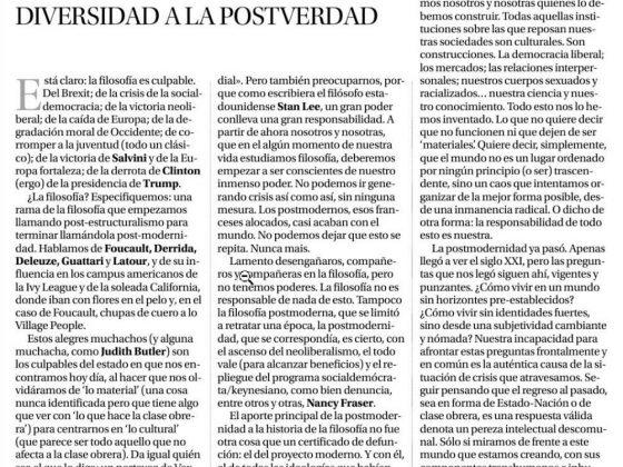 Juan Manuel Zaragoza: «De la trampa de la diversidad a la postverdad»
