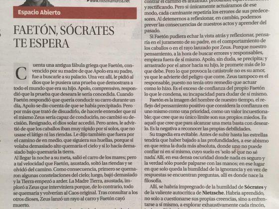 Víctor M. Gonzalo: «Faetón, Sócrates te espera»