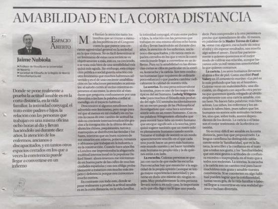 Jaime Nubiola: «Amabilidad en la corta distancia»