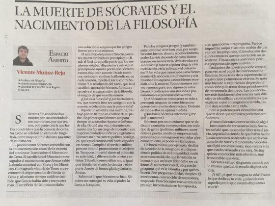 Vicente Muñoz-Reja: «La muerte de Sócrates y el nacimiento de la filosofía»