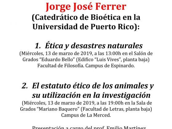 Conferencia en la Facultad de Filosofía: Jorge José Ferrer