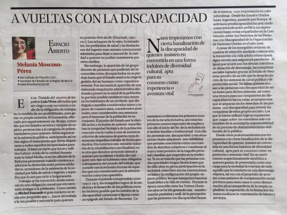 Melania Moscoso-Pérez: «A vueltas con la discapacidad»