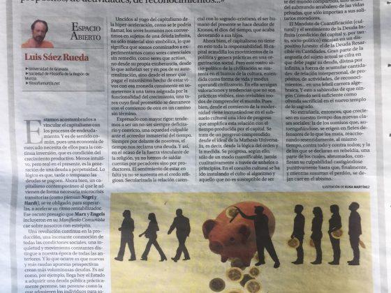 Luis Sáez Rueda: «Bajo la deuda infinita»